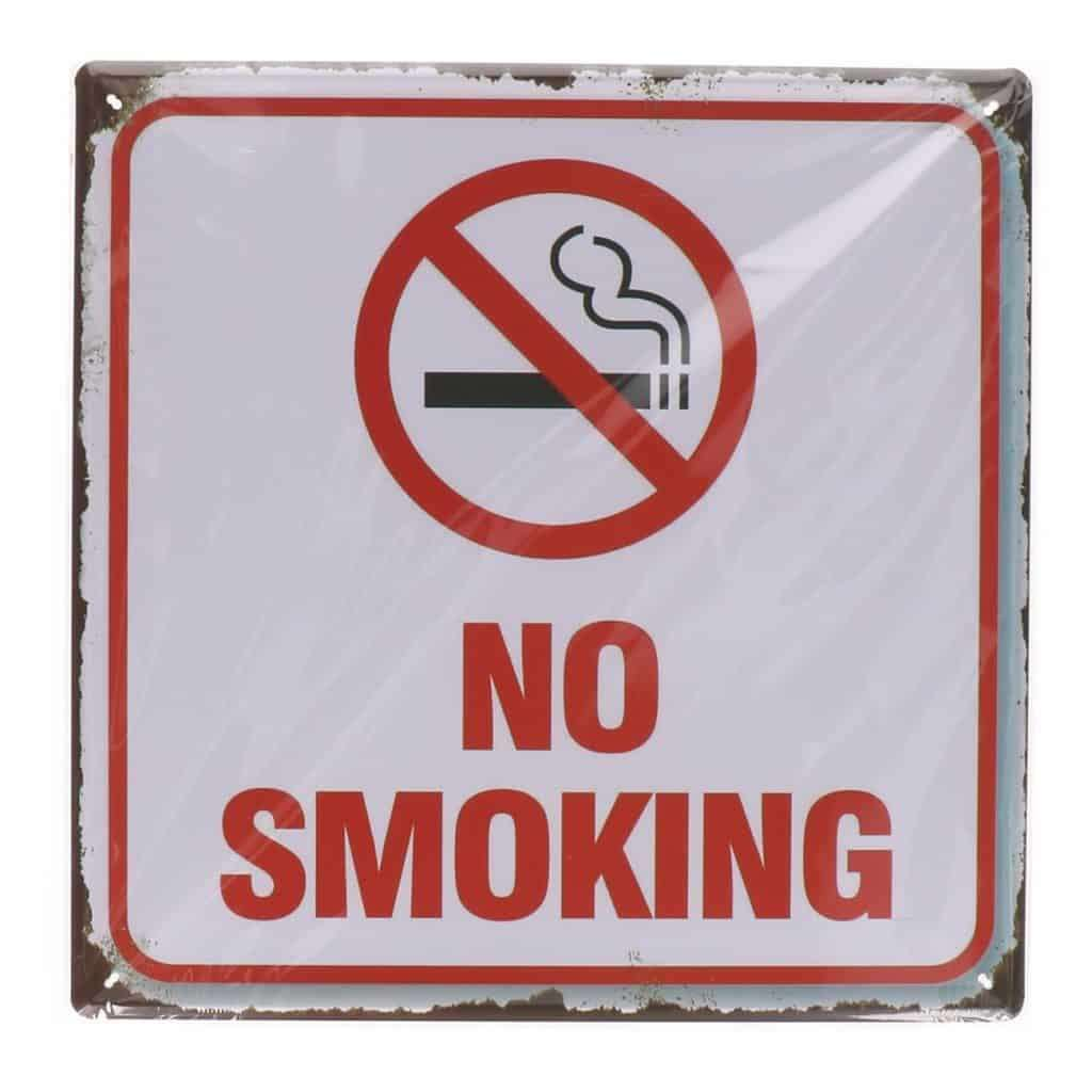 Metalen bord no smoking