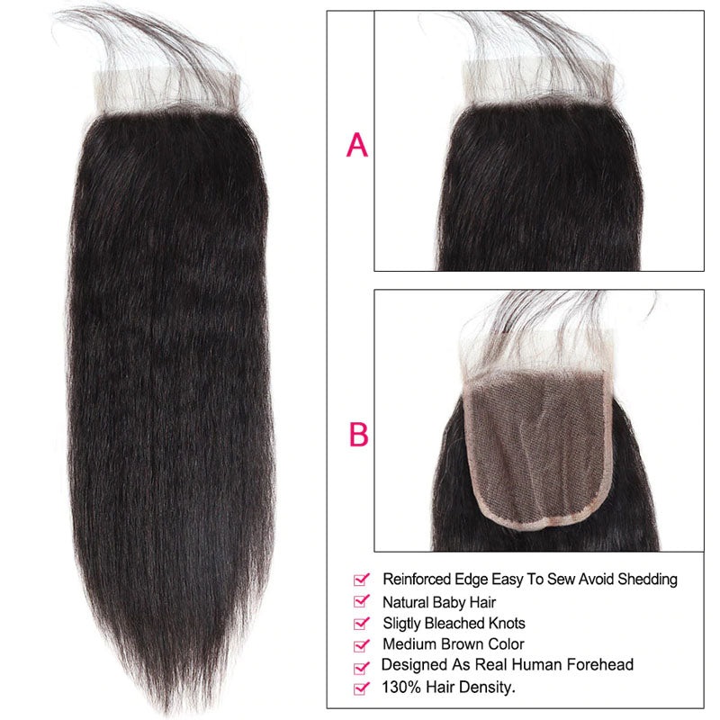 4x4 Lace Closure Middle Part Yaki Straight Closure 100% Human Hair Lace Closure Natural Color - Truelovewigs.com