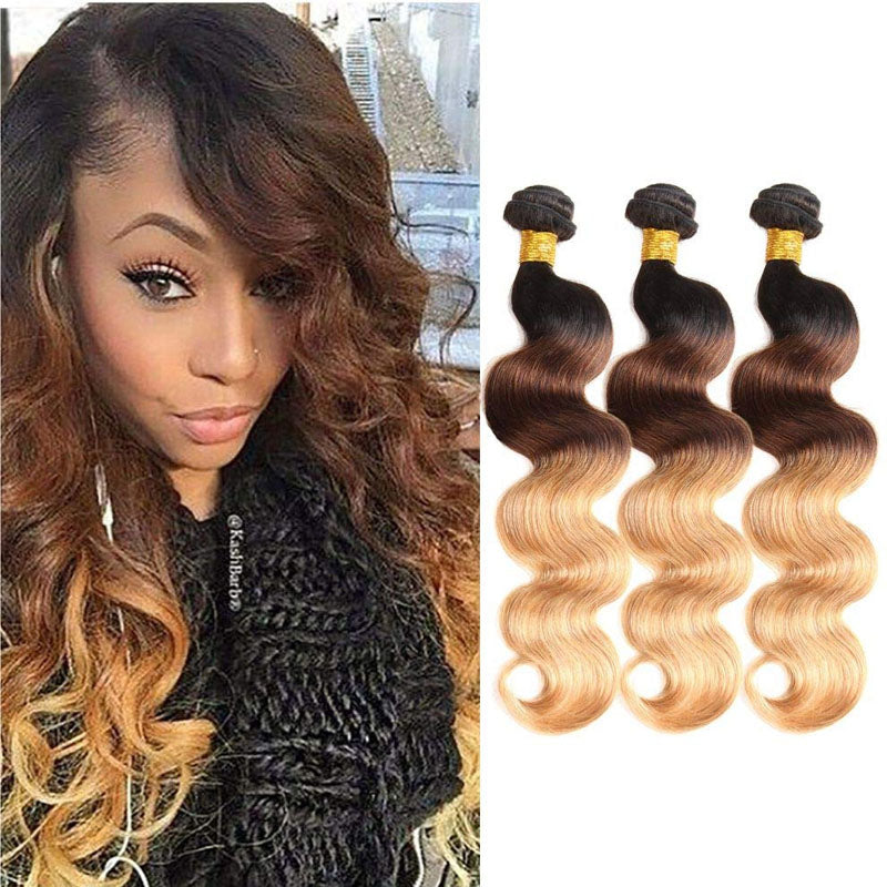 Ombre Weave Hair 3 Bundles of Two Tone Hair Weave Best 1b/4/27 Hair Body Wave 10A High Quality100% Human Hair - Truelovewigs.com