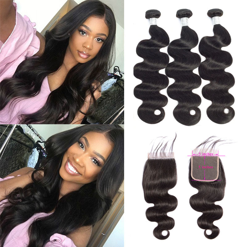 5x5 Closure with Bundles Body Wave Hair Bundles with Closure Swiss 100% Human Hair Natural Color - Truelovewigs.com