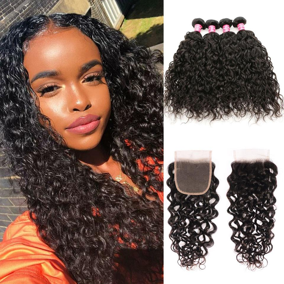 Water Wave Hair 4 Bundles With 4*4 Lace Closure Human Virgin Hair Extension - Truelovewigs.com