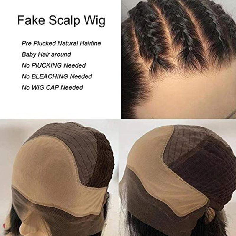 Fake Scalp Wig 13x6 Lace Front Wigs Body Wave 10A Hair Pre Plucked With Baby Hair - Truelovewigs.com