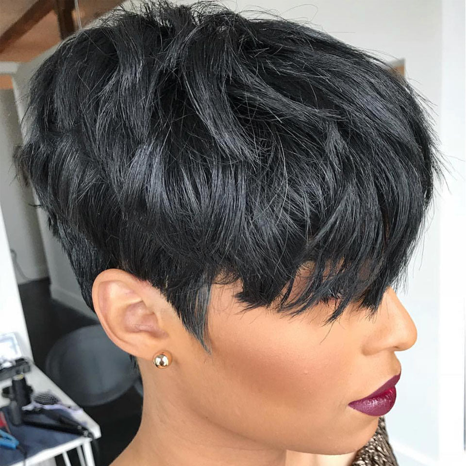 Short Pixie Cut Wigs Short Human Hair Wigs 13x4 Straight Non-Remy Hair Pixie Wigs for Black Women - Truelovewigs.com