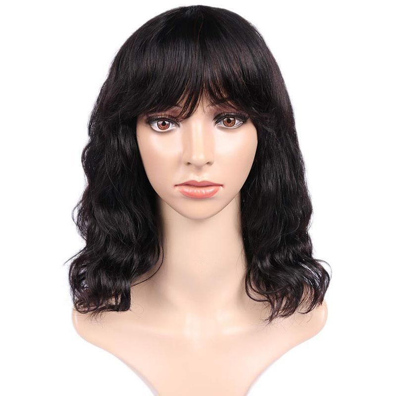 Bob Wig with Bangs 100% Human Hair Short Wavy Wigs with Bangs 10A Hair 13x4 Lace Front Wigs - Truelovewigs.com