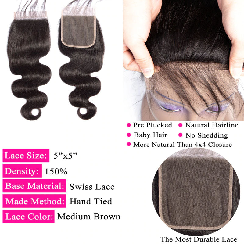 5x5 Closure Body Wave Closure 100% 10A Human Hair Closure Swiss Lace Closure Pre-Plucked Hair-line - Truelovewigs.com