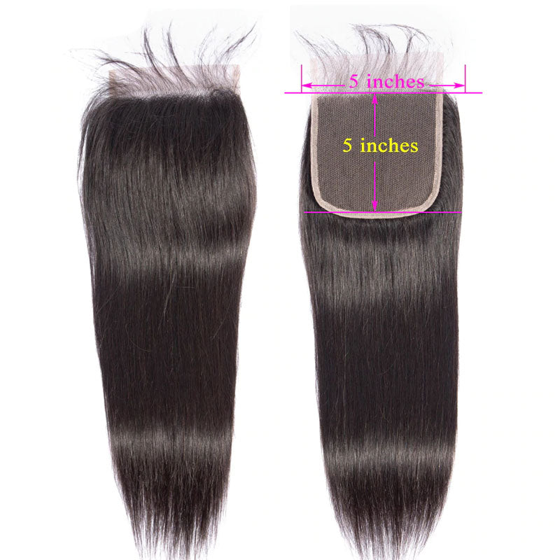 5x5 Lace Closure with Bundles Straight Hair Bundles with Closure Swiss 100% Human Hair Natural Color - Truelovewigs.com
