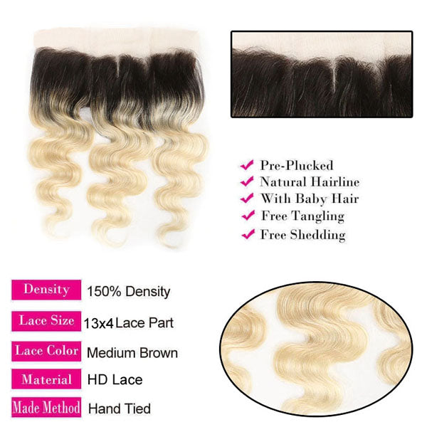 613 Frontal Blonde Body Wave Frontal 100% Human Hair #T1b/613 13x4 Lace Frontal Weave 150% Density - Truelovewigs.com