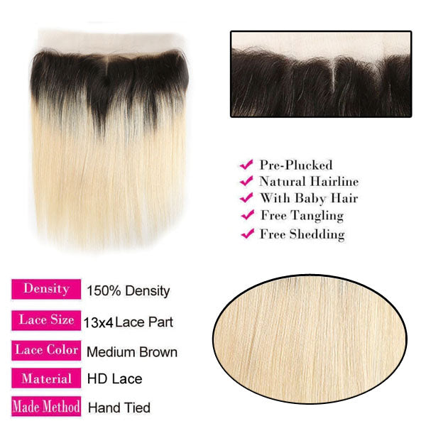 613 Frontal Blonde Straight Frontal 100% Human Hair #T1b/613 13x4 Lace Frontal Weave 150% Density - Truelovewigs.com