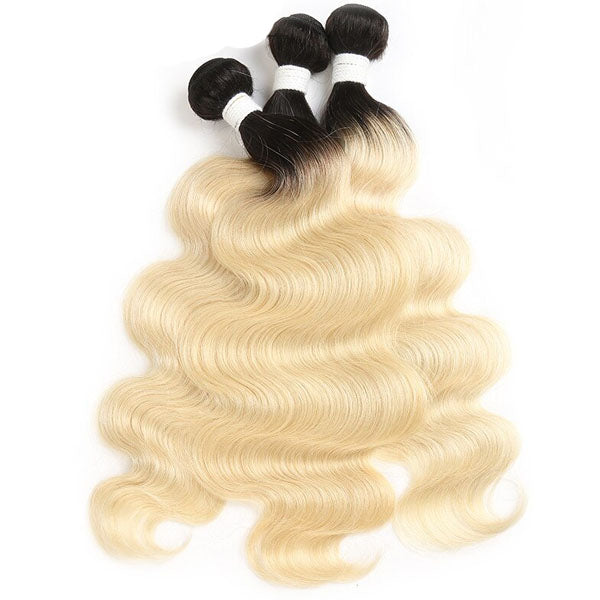 Blonde Body Wave 3 Bundles with Closure T1b Best 613 Hair with Closure 100% Human Hair 4x4 Closure - Truelovewigs.com