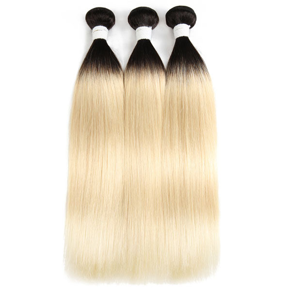 Blonde Straight 3 Bundles with Closure T1b 613 Hair with Closure 100% Human Hair 4x4 Closure - Truelovewigs.com