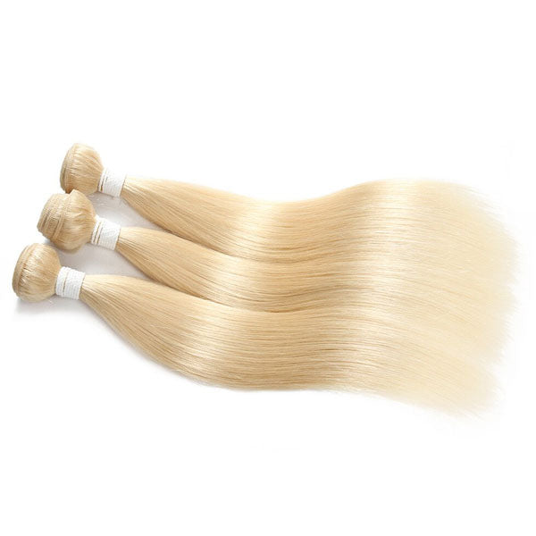 613 Bundles with Closure Blonde Straight 3 Bundles with Closure 100% Human Hair 4x4 Closure - Truelovewigs.com