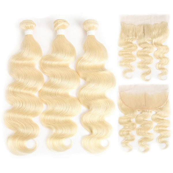 613 Bundles with Frontal Cheap 613 Hair with Frontal 13x4 Frontal Body Wave Hair 10A 100% Human Hair - Truelovewigs.com