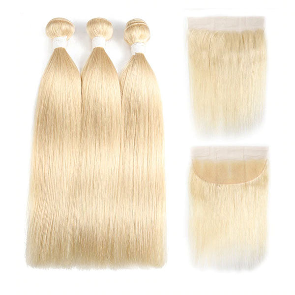 613 Bundles and Frontal 3 Bundles with Frontal Straight Hair 10A Top Quality 100% Human Hair 13x4 Frontal - Truelovewigs.com