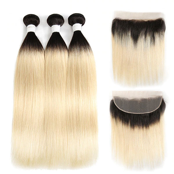 Blonde Bundles with Frontal T1b 613 Straight 3 Bundles with Frontal 100% Human Hair 13x4 Frontal - Truelovewigs.com