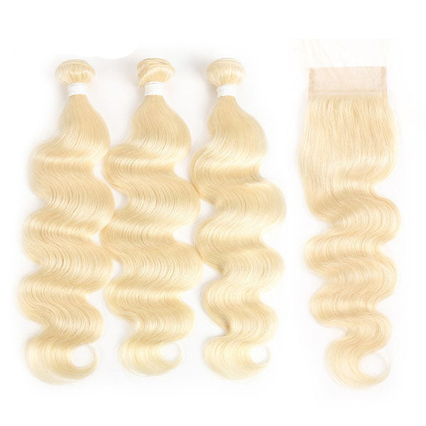 Blonde Brazilian Hair Body Wave Cheap 613 Bundles with Closure Best 613 Hair 100% Human Hair 4x4 Closure - Truelovewigs.com
