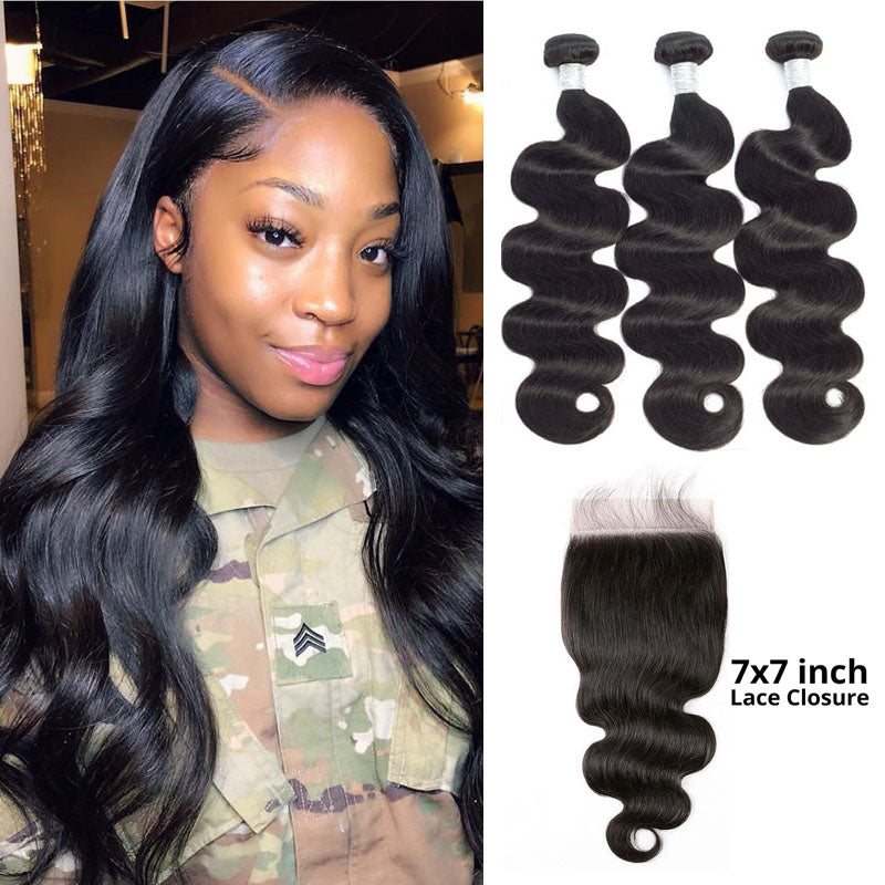 7x7 Closure with Bundles 3 Bundles Body Wave Hair with Closure 100% Human Hair Swiss Closure - Truelovewigs.com