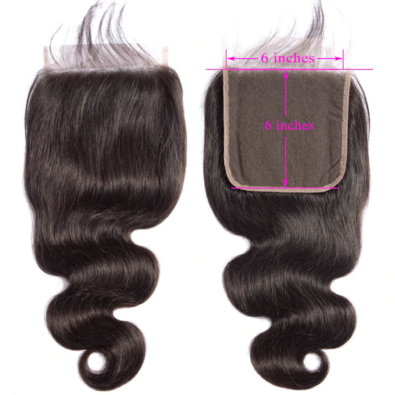 6x6 Closure Body Wave Closure 100% Human Hair Closure 10A Pre Plucked Closure with Baby Hair - Truelovewigs.com