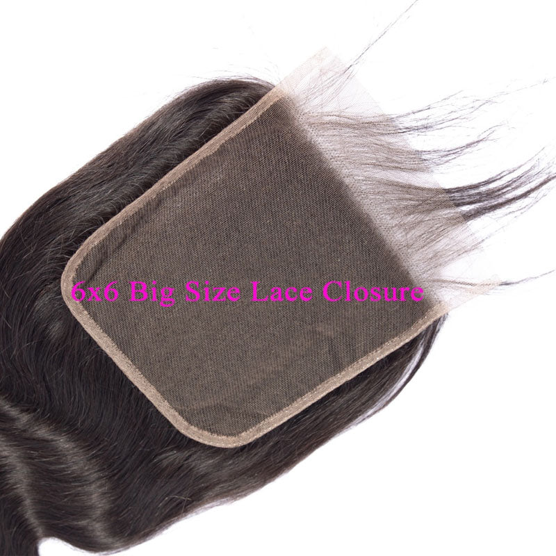 6x6 Closure with Bundles 3 Bundles Body Wave Hair with Closure Swiss 100% Human Hair Natural Color - Truelovewigs.com