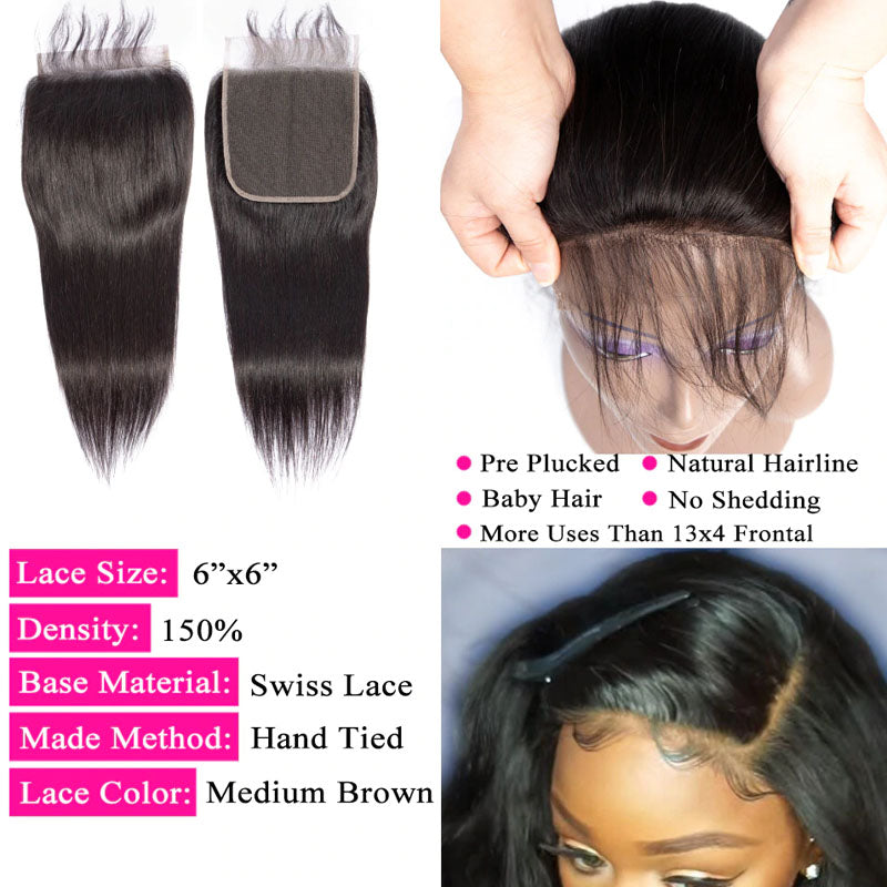 6x6 Lace Closure with Bundles 3 Bundles Straight Hair with Closure Swiss 100% Human Hair Natural Color - Truelovewigs.com