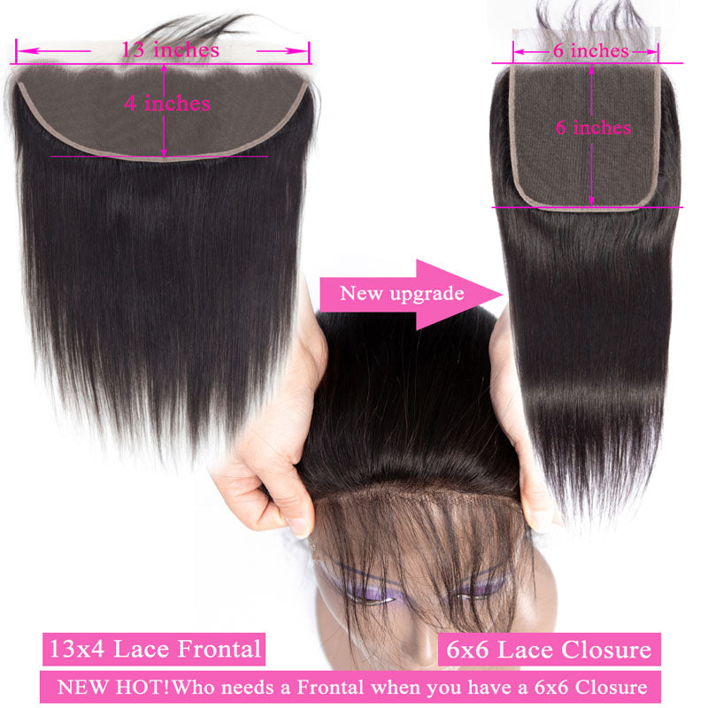 6x6 Lace Closure Brazilian Straight Closure Invisible Lace Closure 10A Human Hair with Baby Hair - Truelovewigs.com