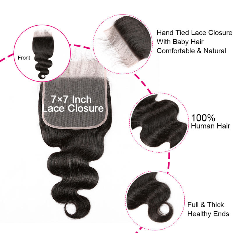 7x7 Lace Closure Closure Body Wave Invisible Lace Closure 10A Swiss Lace Closure Human Hair with Baby Hair - Truelovewigs.com