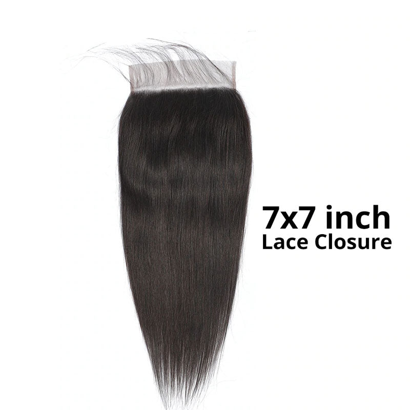 7x7 Lace Closure with Bundles 3 Bundles Straight Hair with Closure 100% Human Hair Swiss Closure - Truelovewigs.com