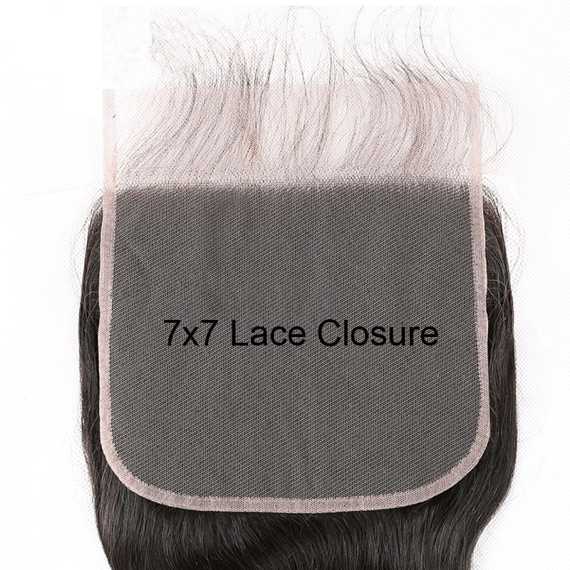 7 x 7 Lace Closure Straight Invisible Lace Closure 10A No Part Closure Human Hair with Baby Hair - Truelovewigs.com
