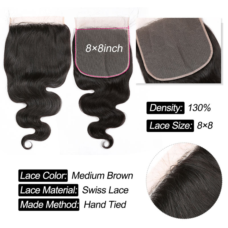 8 x 8 Lace Closure Body Wave Closure Invisible Lace Closure 10A Middle Part Closure Human Hair with Baby Hair - Truelovewigs.com