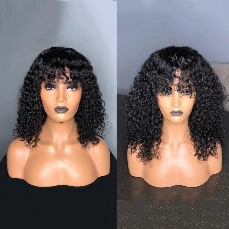 Curly Wig with Bangs 100% Human Hair Short Curly Wigs with Bangs 10a Curly Hair 13x4 Lace Front Wigs - Truelovewigs.com