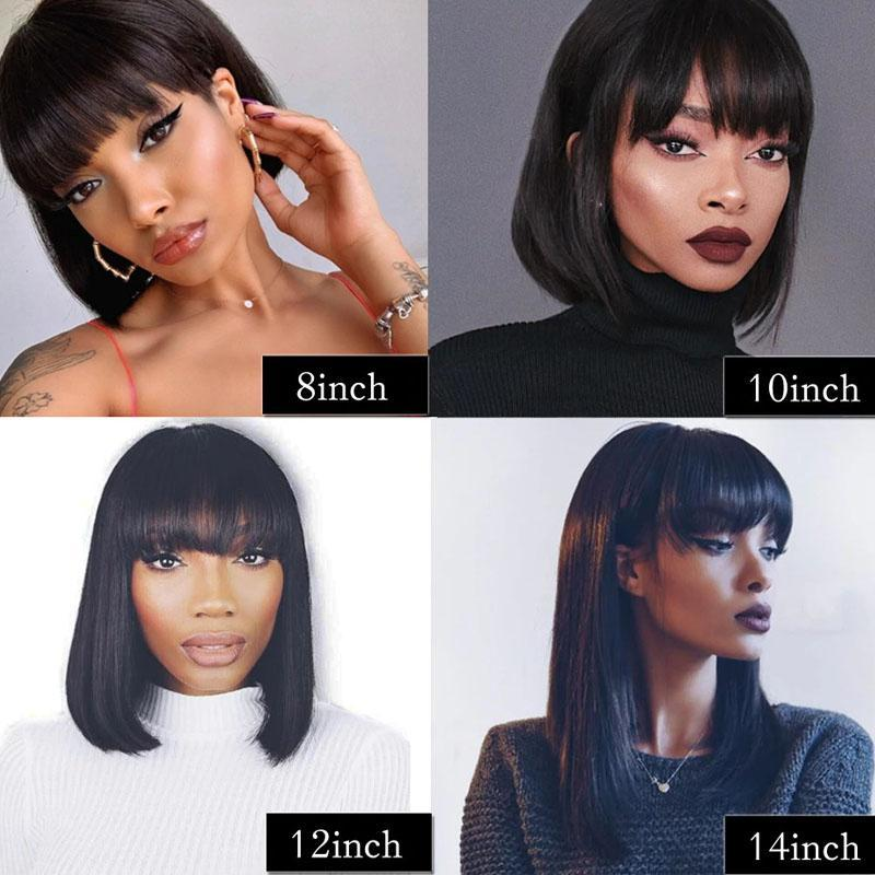 Bob Wig with Bangs 100% Human Hair Wigs with Bangs 10a Straight Hair 13x4 Lace Front Wigs - Truelovewigs.com