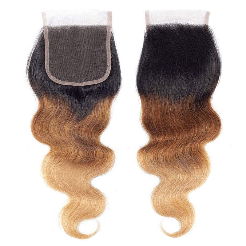 Light Brown Bundles with Closure 3 Bundles with Body Wave Closure #T1b/4/27 Swiss Lace Closure - Truelovewigs.com