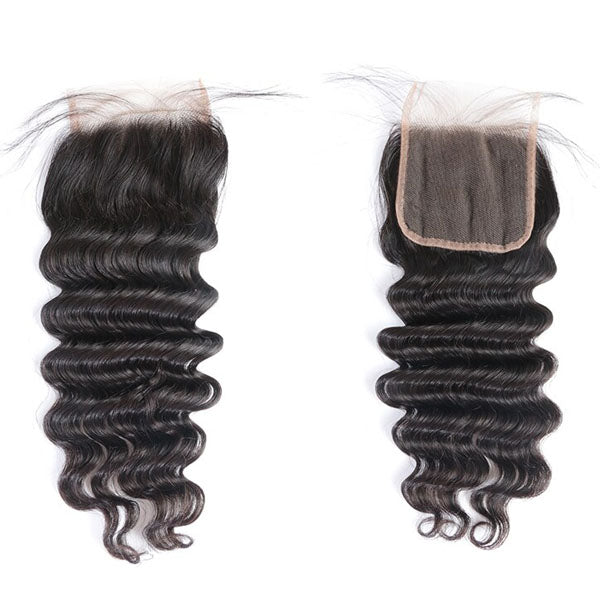 4x4 Lace Closure Middle Part Loose Deep Wave Closure 100% Human Hair Lace Closure Natural Color - Truelovewigs.com