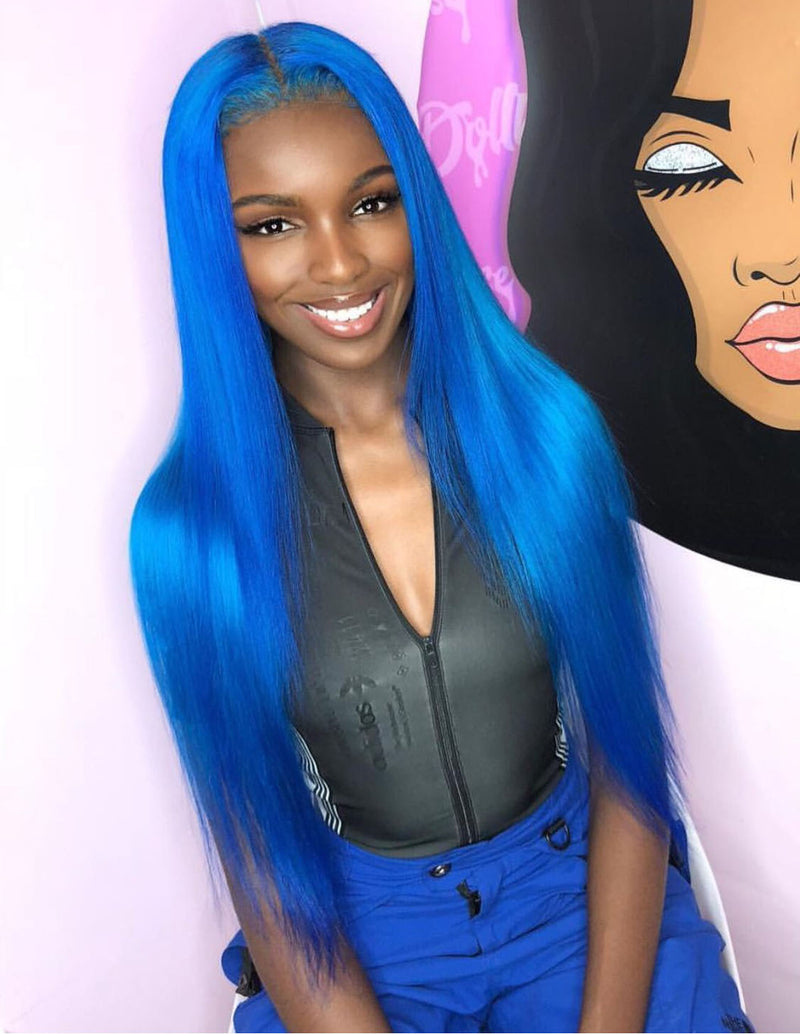 Blue Straight Wig 100% Human Hair Wig The Same As The Hairstyle and Color In The Picture Shown - Truelovewigs.com