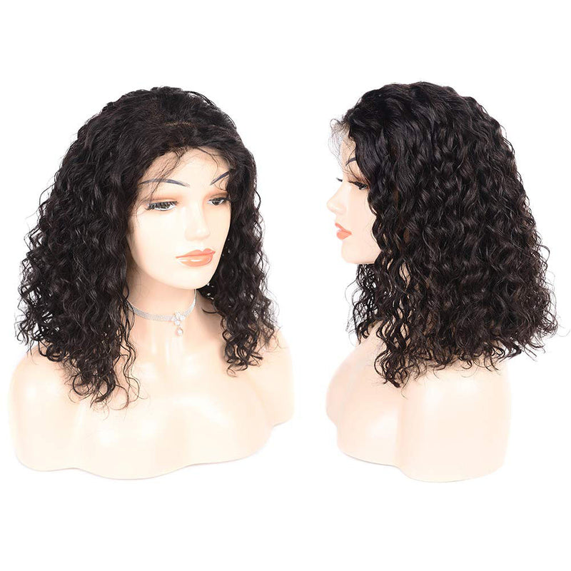 Curly Bob Wig for Black Women 100% Human Hair Middle Part 10A Remy Hair 13x4 Lace Front Wigs - Truelovewigs.com