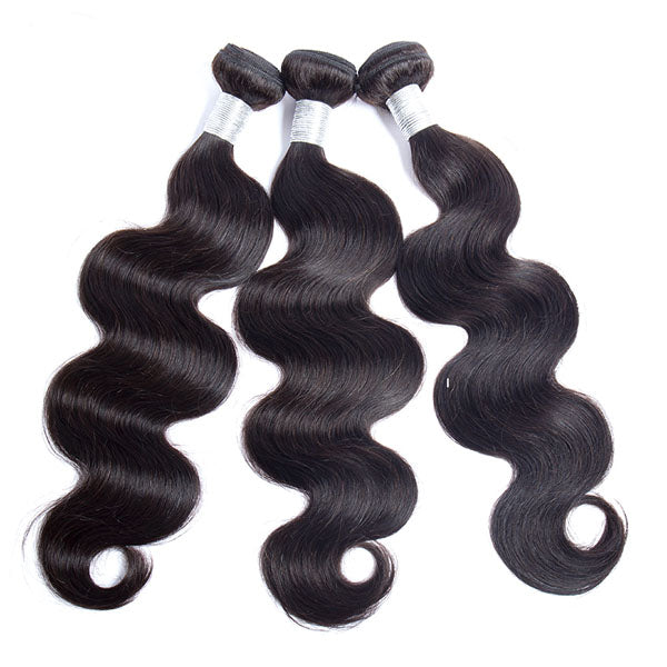 Body Wave Bundles with Frontal 4 Bundles and Frontal 100% Human Hair 13x4 Frontal Natural Color - Truelovewigs.com