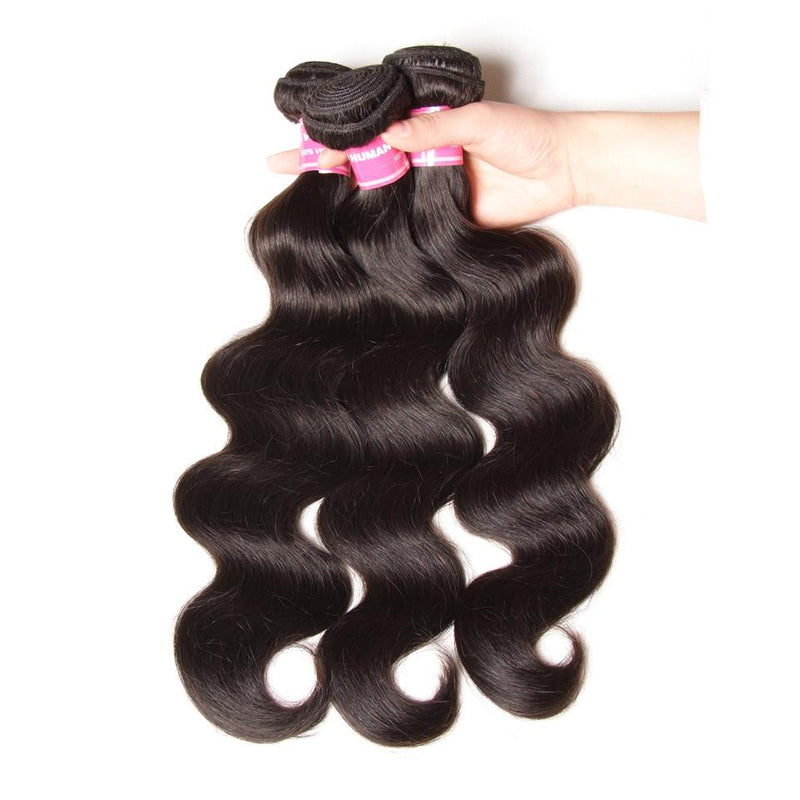Body Wave Hair 3 Bundles With 13*4 Lace Frontal 100% Human Hair Top Quality - Truelovewigs.com