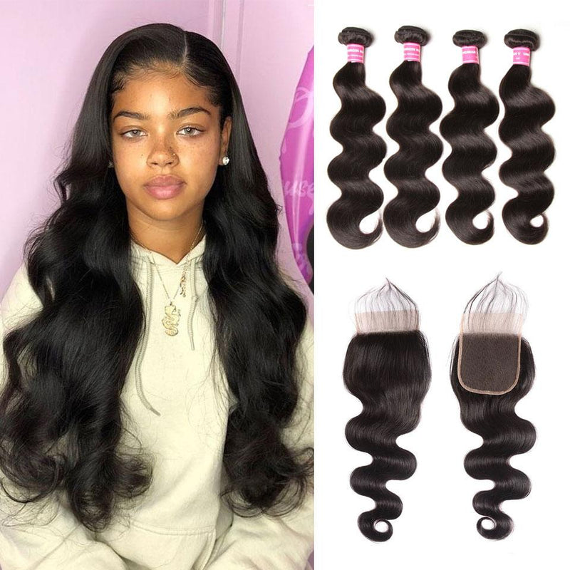 Body Wave Hair 4 Bundles With 4*4 Lace Closure Human Virgin Hair Extension - Truelovewigs.com