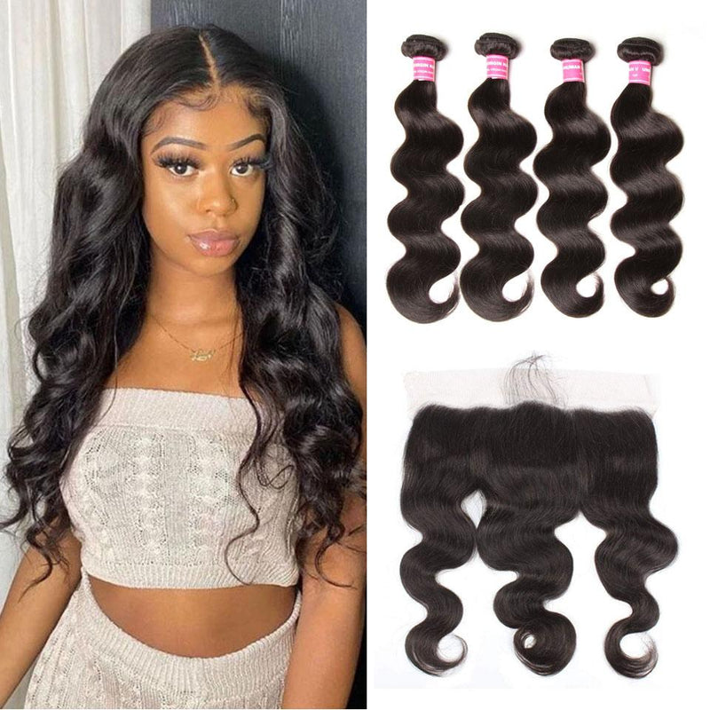 Body Wave Hair 4 Bundles With 13*4 Lace Frontal Human Virgin Hair Extension - Truelovewigs.com