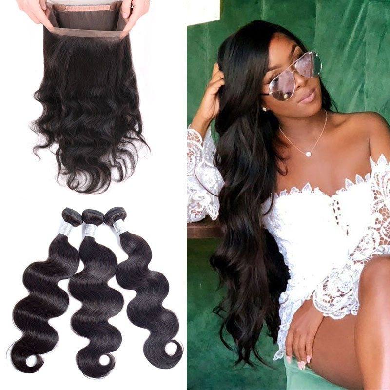 Cheap Bundles with Frontal with Bundles 360 Body Wave Frontal and 3 Bundle Deals 10A Remy Hair 100% Human Hair Natural Color - Truelovewigs.com