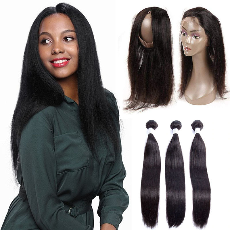 360 Frontal with Bundles Straight Frontal and Bundle Deals 10A Remy Hair 100% Human Hair Natural Color - Truelovewigs.com