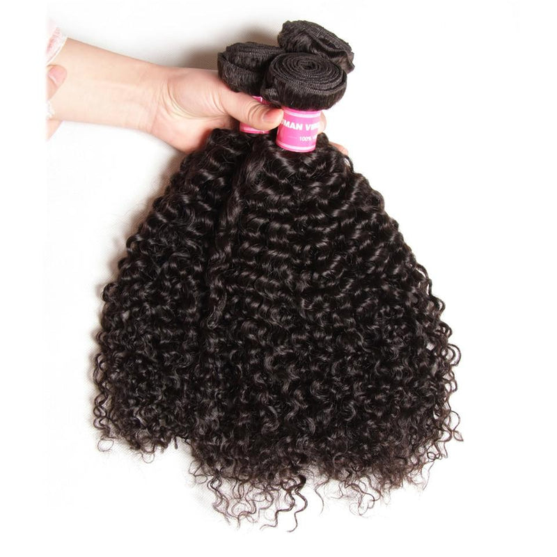 Curly Hair 3 Bundles With 4*4 Lace Closure, Unprocessed Human Hair Extension - Truelovewigs.com