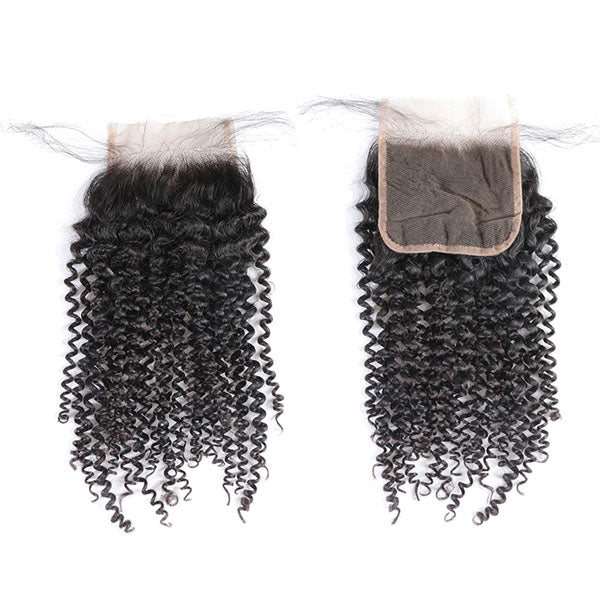 4x4 Lace Closure Middle Part Curly Closure 100% Human Hair Lace Closure Natural Color - Truelovewigs.com