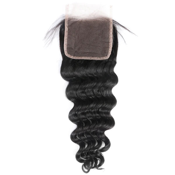 4x4 Lace Closure Middle Part Deep Wave Closure 100% Human Hair Lace Closure Natural Color - Truelovewigs.com