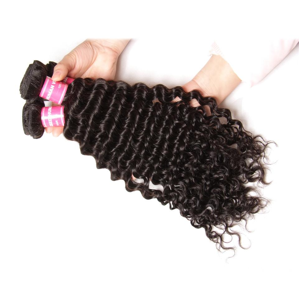 Deep Wave Hair 3 Bundles With 4*4 Lace Closure, Unprocessed Human Hair Extension - Truelovewigs.com