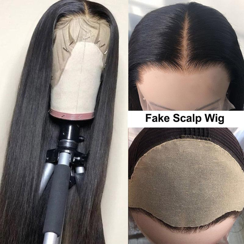 Fake Scalp Wig 13x6 Lace Front Wigs Straight Hair Wigs 10A Hair Pre Plucked With Baby Hair - Truelovewigs.com