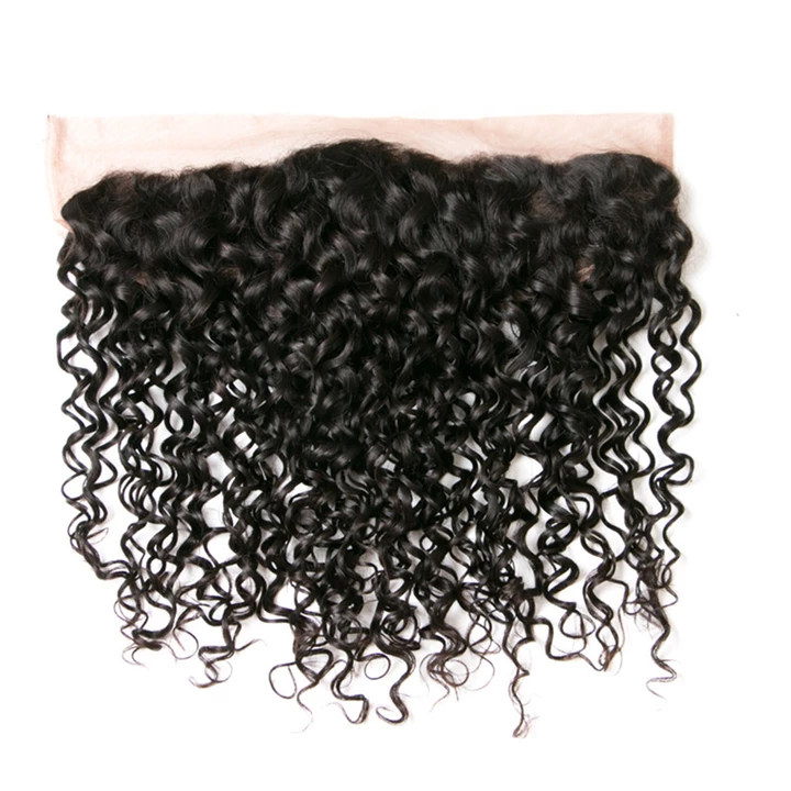 13x4 Brazilian Lace Frontal Water Wave Frontal 100% Human Hair Lace Frontal Weave 150% Density Natural Color - Truelovewigs.com