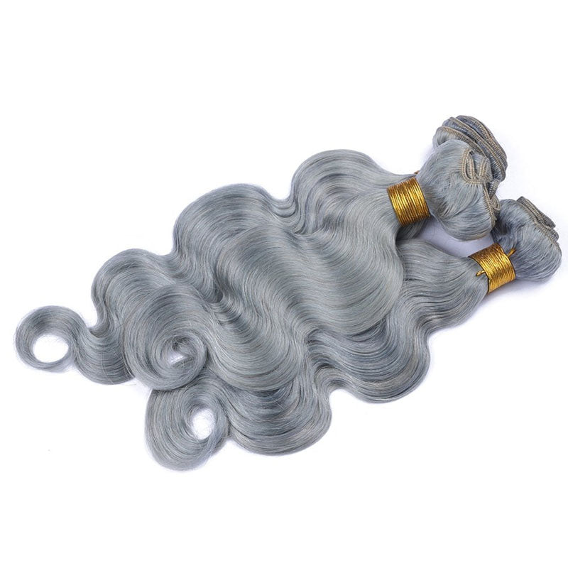 3 Bundles of Ombre Human Hair Weave Best Grey Hair Body Wave 10A High Quality 100% Human Hair - Truelovewigs.com
