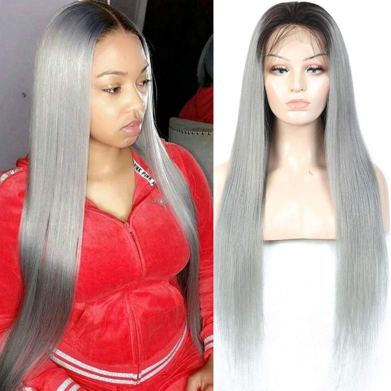 Grey Human Hair Wigs 10a Top Quality Pre Plucked with Baby Hair - Truelovewigs.com