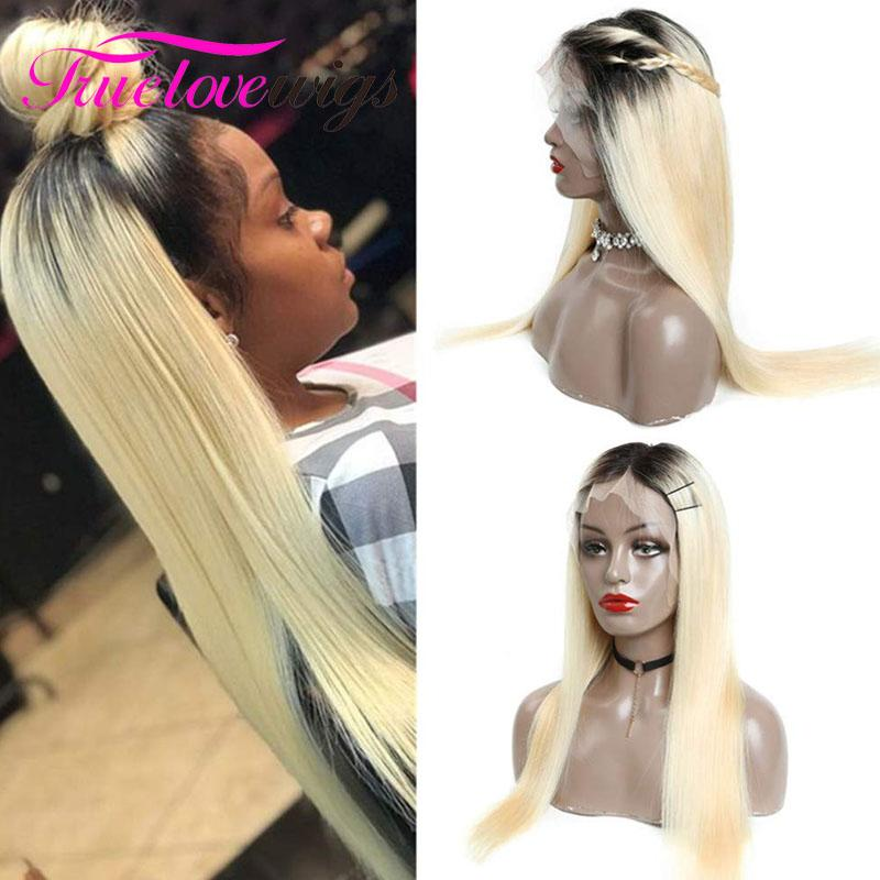 613 Blonde Full Lace Wig Straight Human Hair Wigs for Black Women T1b/613 With Baby Hair - Truelovewigs.com