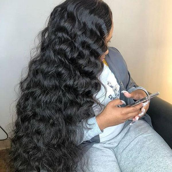 Human Hair Wigs for Black Women Pre Plucked Hair-Line With Baby Hair Loose Deep Wave Full Lace Wig - Truelovewigs.com